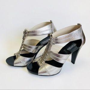 Michael Kors Silver Black Zip Front Heels Sz 9.5